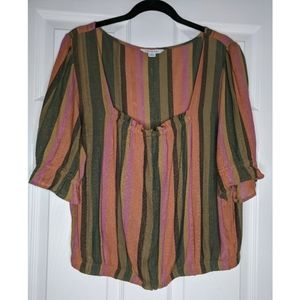 American Eagle Striped Square Neck Top - Large